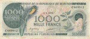 Burundi, 1.000 Francs, 1978, VF, p31a