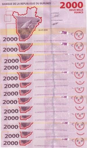 Burundi, 2000 Francs, 2018, UNC, pNew, Total 13 banknotes