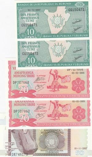 Burundi,  Different 5 banknotes