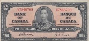 Canada, 2 Dollars, 1937, XF, p59b