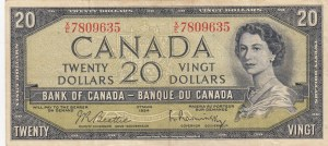 Canada, 20 Dollars, 1961/1970, VF, p80b