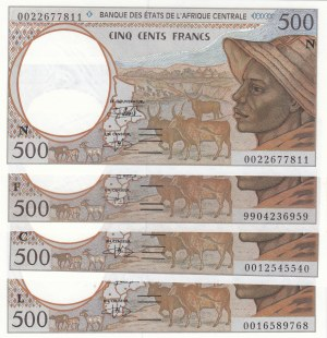 Central African States, 500 Francs, 1999, UNC, p301, (Total 4 banknotes)