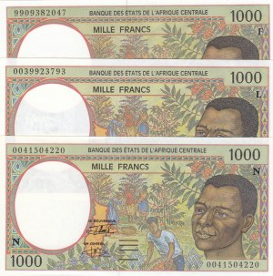 Central African States, 1.000 Francs, 2000, UNC, p502Nh, (Total 3 banknotes)