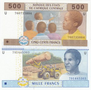 Central African States, 500 Francs and 1.000 Francs, 2002, UNC, p206Ue, p207Ue, (Total 2 banknotes)