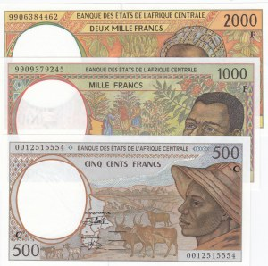 Central African States, 500 Francs, 1.000 Francs and 2.000 Francs, 1999, UNC, p101, p302f, p303f, (Total 3 banknotes)