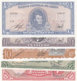 Chile, 1/2 Escudo, 1 Escudo, 10 Escudos, 50 Escudos and 100 Escudos,  UNC,  (Total 5 banknotes)