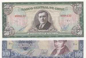 Chile, 50 Escudos and 100 Escudos, 19070-1973, AUNC, p140b, p141a, (Total 2 banknotes)