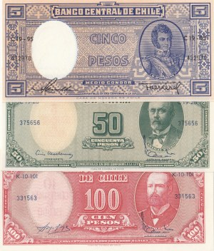 Chile,  Total 3 banknotes