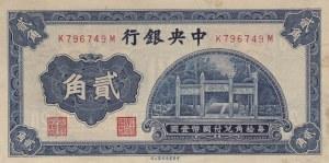 China, 20 Cents, 1931, XF, p203