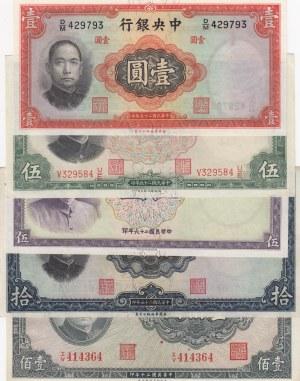 China, 1, 5, 5, 10, 100 Yuan , 1936/1937, differant cond., p212, p217, p214, p243