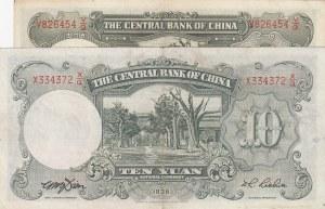 China, 5 Yuan and 10 Yüan, 1936, XF, p213, p2014, (Total 2 banknotes)