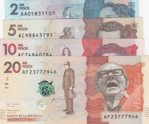Colombia,  Total 4 banknotes