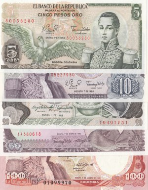 Colombia,  Total 5 banknotes