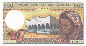 Comoros, 500 Francs, 1986, UNC, p10b