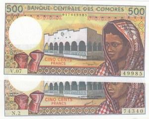Comoros, 500 Francs, 1994, UNC, p10b, (Total 2 banknotes)