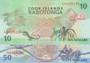 Cook Islands, 10 - 50 Dollars, 1992, UNC, p8, p10