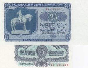Czechoslovakia, 3 Koruny, 25 Korun , 1961/1953, UNC, p81, p84