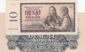 Czechoslovakia,  UNC,  total 2 banknotesCzechoslovakia 10 Kron