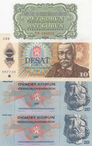 Czechoslovakia,  Total 4 banknotes