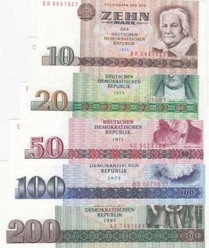 Democratic Germany, 10 Mark, 20 Mark, 50, Mark, 100 Mark and 200 Mark, 1971/1985, UNC, p28, p29, p30, p31, p32, (Total 4 banknotes)