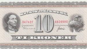 Denmark, 10 Kroner, 1954/1955, UNC, p44d