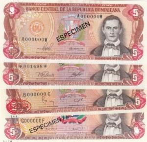 Dominican Republic, 5 Pesos Oro, 1978/1988, UNC, p118, SPECIMEN, (Total 4 banknotes)