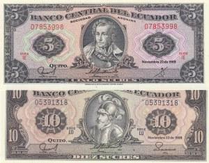 Ecuador, 5 Sucres and 10 Sucres, 1988, UNC, p12A, p121, (Total 2 banknotes)
