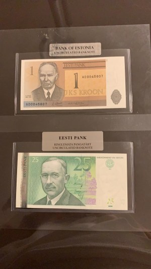 Estonia,  Total 2 banknotes with sheets