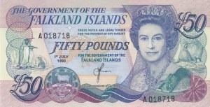 Falkland Islands, 50 Pounds, 1990, AUNC, p16a