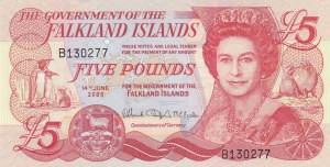 Falkland Islands, 5 Pounds, 2005, UNC, p17a