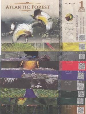 Fantasy Banknotes, 1, 2, 3, 4, 5, 6, 7, 8, 9 Aves Dolar, 2015, UNC,