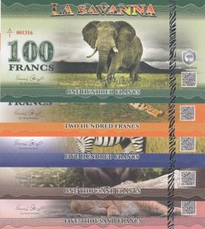 Fantasy Banknotes, 100, 200, 500, 1000, 5000 Francs, 2015, UNC,