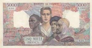 France, 5.000 Francs, 1945, XF, p103c