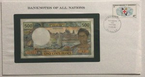 French Pasific Territories, 500 Francs, 1985, UNC, p60e, FOLDER