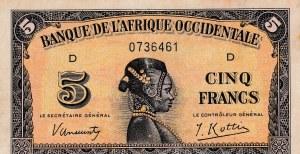 French West Afrıca, 5 Francs, 1942, VF, p28