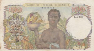 French West Africa, 100 Francs, 1948, VF, p40
