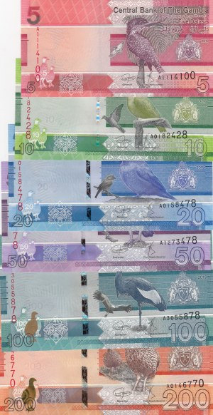 Gambia, 5-10-20-50-100-200 Dalasis, 2019, UNC, p-New, Total 6 banknotes