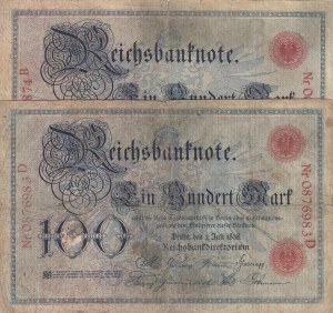 Germany, 100 Reichsmark, 1898, POOR, p20, Total 2 banknotes