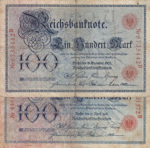 Germany, 100 Reichsmark, 1903, FINE, p22, Total 2 banknotes