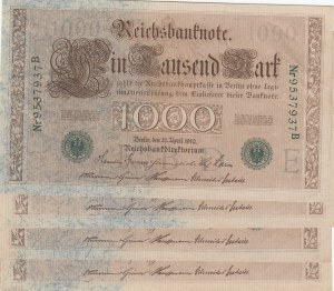 Germany, 1.000 Mark, 1910, XF, p45 , Total 4 banknotes