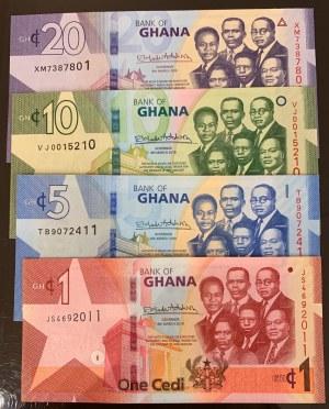 Ghana, 1 Cedi, 5 Cedis, 10 Cedis and 20 Cedis, 2019, UNC, p37, p38, p39, p40, (Total 4 banknotes)