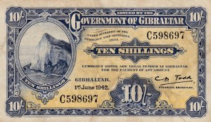 Gibraltar, 10 Shillings, 1942, VF (-), p14b