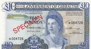 Gibraltar, 10 Pounds, 1977, UNC, pCS1, SPECIMEN