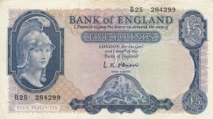 Great Britain, 5 Pounds, 1957/1967, XF, p371