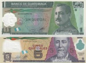 Guatemala, 1 Quetzal and 5 Quetzales, 2011/2012, UNC, p115, p122, (Total 2 banknotes)