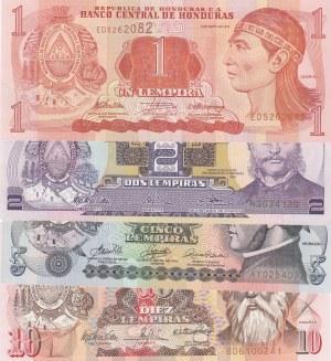 Honduras, 1 Lempira, 2 Lempiras, 5 Lempiras and 10 Lempiras, 2003/2010, UNC, p89b, p80Ad, p91a, p86c, (Total 4 banknotes)