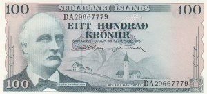 Iceland, 100 Kronor, 1961, UNC, p44a