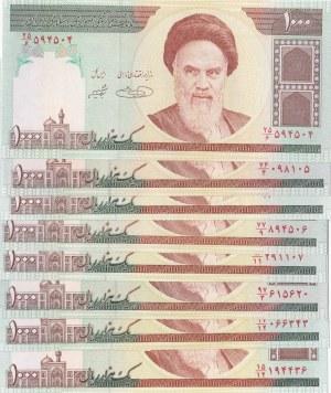 Iran, 1.000 Rials, 1992, UNC, p143b, total 7 banknotes