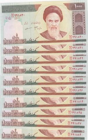 Iran, 1.000 Rials, 1992, UNC, p143f, Total 10 banknotes