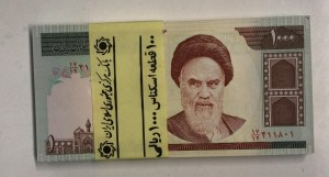 Iran, 1.000 Rials, 1992, UNC, p143g, Stack of money
